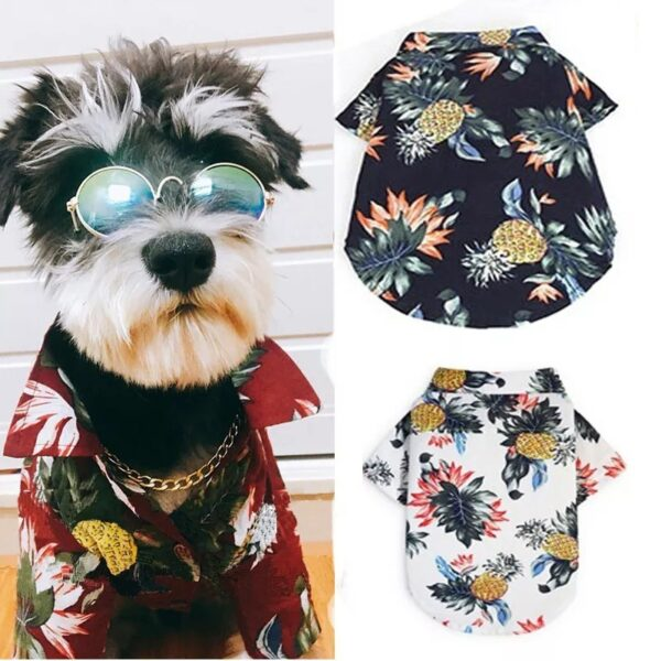 Trafoos Summer Beach Shirts for Dog Cute Hawaii Casual Pet Cat Clothing Floral T Shirt For Small Dogs Summer Beach Shirts for Dog
